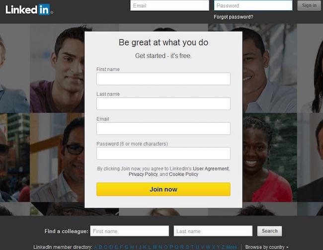 Register for Linkedin - step-by-step instructions
