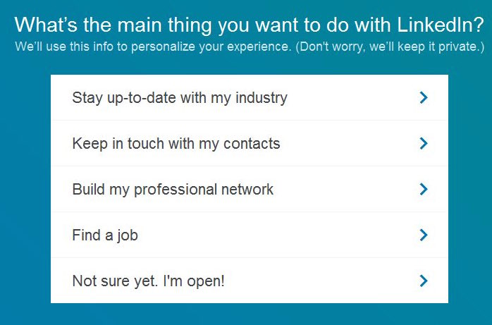 Register for Linkedin - survey questions