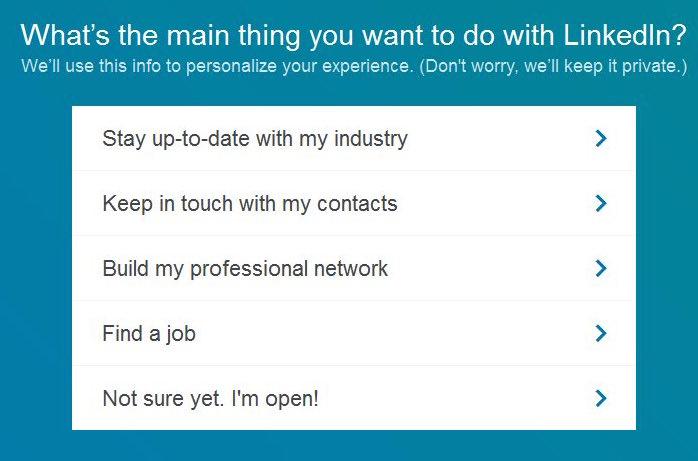 Register for Linkedin - survey questions