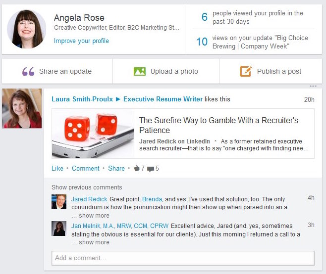 LinkedIn Homepage Example